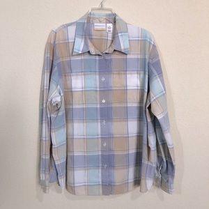 Alfred Dunner Plaid Button Down Long Sleeve Shirt